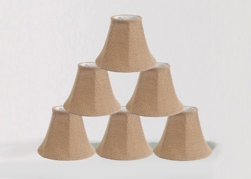 Urbanest 1100258c Chandelier Lamp Shade 6-inch, Bell, Clip on, Burlap (Set of 6) - French Country Chandelier Shades