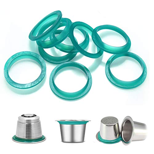 Rolin Roly 30PCS Silicone Seal Filter Replacement Ring Green Color 20mm for Nespresso Refillable Reusable Coffee Capsules Pods (20PCS)