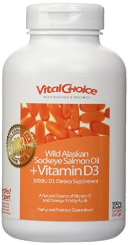 Vital Choice Wild Alaskan Sockeye Salmon Oil + Vitamin D3 - A Natural Source of Omega-3 Fatty Acids and Antioxidants for Overall Health/300mg Soft Gels, 180 Count Bottle/Purity and Potency Guaranteed