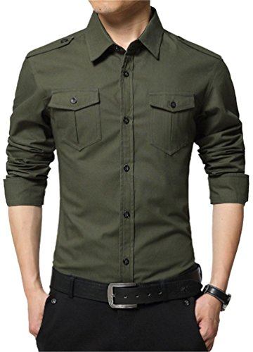 JZOEOEU Mens Casual Slim Fit Button Down Long Sleeve Shirts Army Green Asian Tag 2XL(US S)