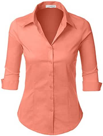 LE3NO Womens Roll Up 3/4 Sleeve Button Down Shirt with Stretch