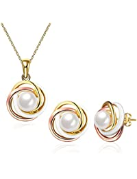 Simple Sterling Silver Pearl Jewelry Set for Women...