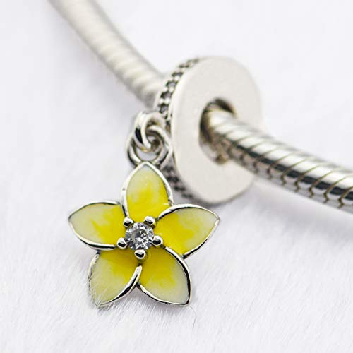 CKK DIY Fits for Pandora Beads Bracelets 100% 925 Sterling Silver Jewelry Plumeria Charms Yellow Color,1.7g. ()