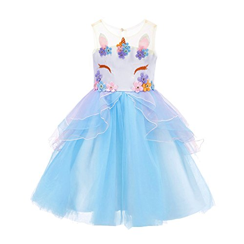 Flower Girl Rainbow Unicorn Tulle Dresses with 3D Embroidery Beading Birthday Party Ball Gowns (Sky Blue, 150(10-11Y))]()