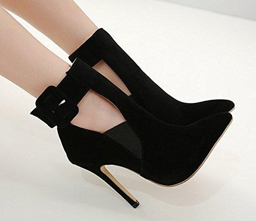 Dames Chaussures De Bien Black Daim Simples Avec Pointues Mode Les Des Talons gOwfqxTq