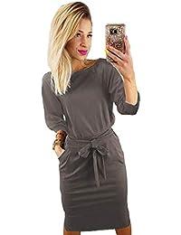85d5543960 Women s Elegant Lantern Sleeve Short Sleeve Wear to Work Casual Pencil Dress  with Belt