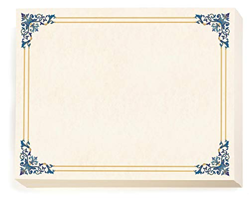 Renaissance Standard Certificate Paper, Blue and Gold Border, 8 1/2 Inch x 11 Inch, 28lb Parchment, Certificates and Awards Paper, 100 Count