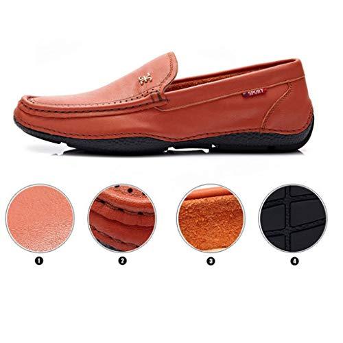 Resbalón Cuero Mocasines Centavos Calzado Conducción Blanco Barco De Para Zapatos Cómodos Informal Hombre 6UOTRwxU