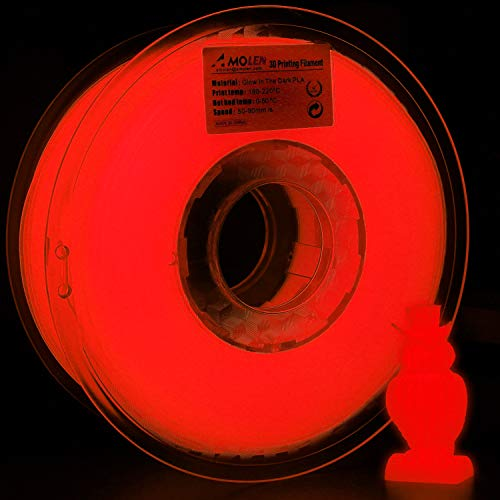 AMOLEN 3D Printer Filament, Glow in The Dark Red PLA Filament 1.75mm +/- 0.03 mm, 1KG/2.2lb, Includes Sample Temp Color Change from Black to Brown to Yellow Filament. ()