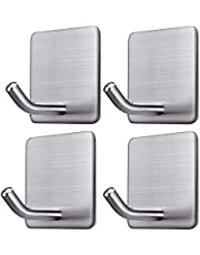 BRITOR Adhesive Hooks Heavy Duty Wall Hangers Hooks Waterproof Stainless Steel Stick on Wall Hooks for Hanging Kitchen Bathroom Home-4 Packs