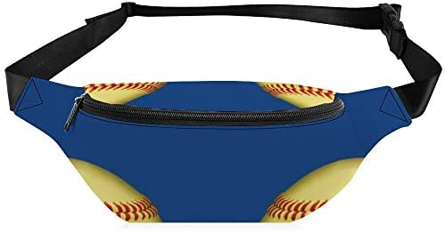青に黄色のソフトボール ウエストバッグ ショルダーバッグチェストバッグ ヒップバッグ 多機能 防水 軽量 スポーツアウトドアクロスボディバッグユニセックスピクニック小旅行
