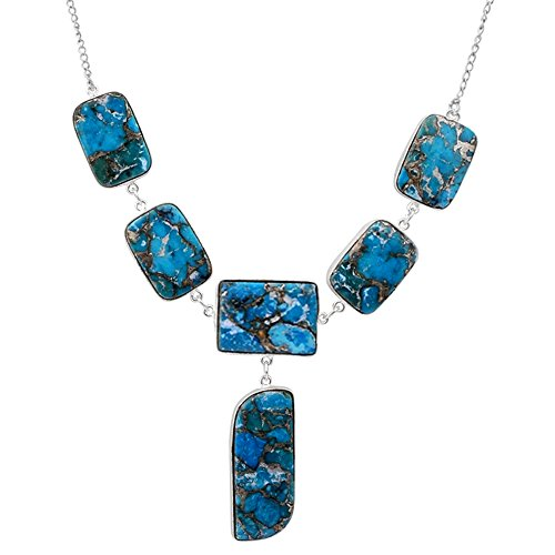Orchid Jewelry 62 Ct Blue Fancy Turquoise, White Topaz and Amethyst 925 Sterling Silver Necklace for Women: A Simple and Cute Birthday Gift for Mother and Wife