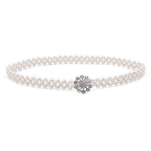 Damara Womens Floral Rhinestone Clasp Pearl Elastic Waist (Silver Floral Belt)
