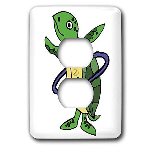 3dRose All Smiles Art Animals - Funny Cool Sea Turtle Playing Hula Hoop Beach Cartoon - Light Switch Covers - 2 plug outlet cover (lsp_287949_6)