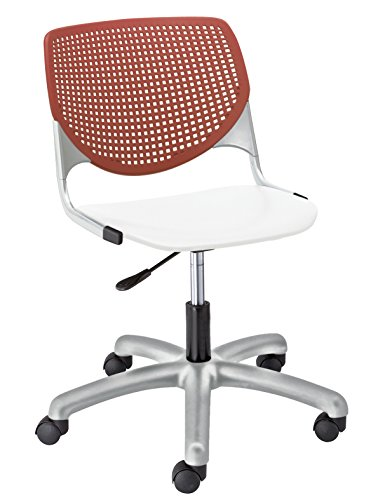 (KFI Seating Kool Poly Task Chair with Perforated, Coral Back, White Seat)
