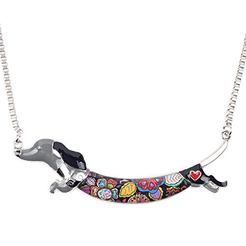 "BONSNY Signature Collection ""LIMMO"" Love Heart Enamel Zinc Alloy Metal Pets Dachshund Necklace Dog Animal Pendant 18"