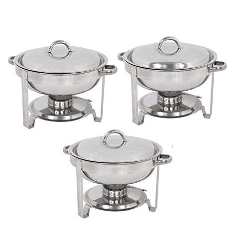 (ZENY Pack of 3 Round Chafing Dish Full Size 5 Quart Stainless Steel Deep Pans Chafer Dish Set Buffet Catering Party Events Warmer Serving Set Utensils w/Fuel Holder)