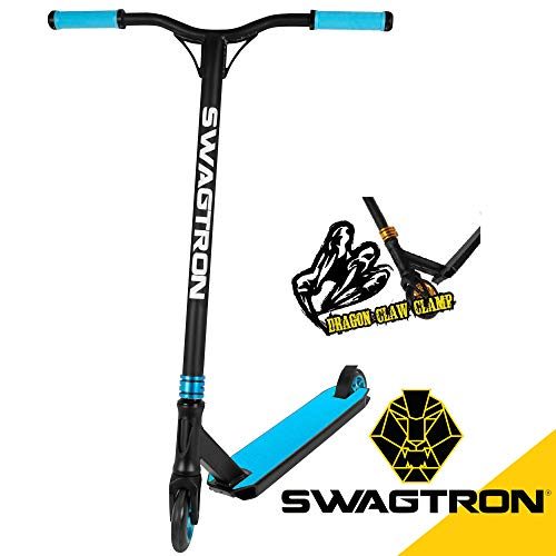 Swagtron ST047 Elite Pro Stunt Scooter - Advanced Competition-Ready Freestyle Trick Scooter | ABEC-9 Chrome Bearings, Aluminum-Core 110mm Wheels - Ages: 15+, Max. Weight: 260 LB (Blue)