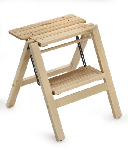 BIBLIO 2 - Classy Folding 2 Steps Ladder/Stool in Solid Beech Wood - Handcrafted in Italy - Natural Finish by ARIS - TRULY MADE IN ITALY