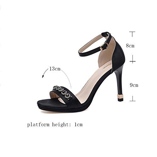 Sandales PU Supérieur Femme Été Mince Talon Chaussures pour Femmes Bout Ouvert Talon Enveloppant Talons Hauts Noir tvvGW