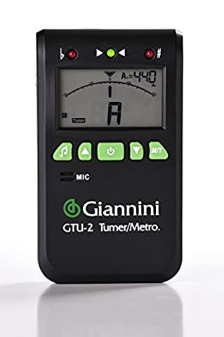 Giannini GTU-2 Digital Chromatic Tuner for Stringed Instruments with Internal Mic, Contact Clip and (Tuner For Stringed Instruments)