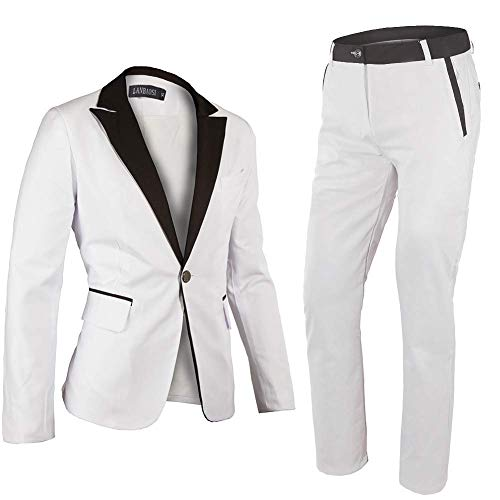 (Minghe Men's One Button Notch Lapel Slim Fit 2-Piece Blazer Suit White)