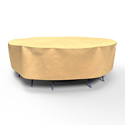 Combo Cover 30 Inch Drop - EmpirePatio Large Round Table and Chairs Combo Covers - Nutmeg