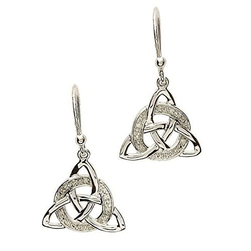 Shanore Celtic Earrings in Sterling Silver Rhodium Plated with Diamonds SE2026