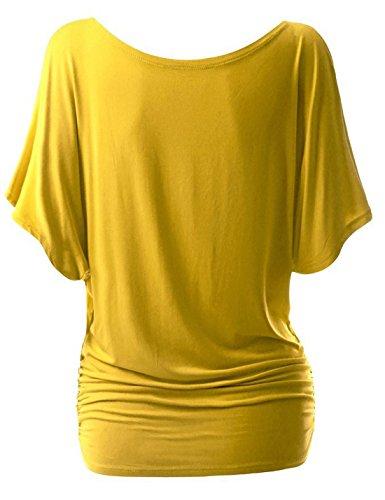 courtes Blouses dcontracts froides d't Vtements shirt manches d'paules Sidiou Group Chemise Jaune rond Hauts col pour T femmes femme Yz8q56w