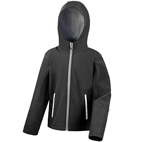 Price comparison product image Result Core Kids Big Boys Junior Hooded Softshell Jacket (13/14) (Black/Gray)