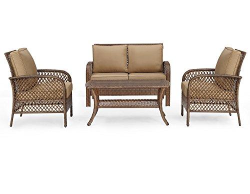 Wicker Deep Seating - Ulax Patio 4 Piece Outdoor Deep Seating Wicker Furniture Sofa Set, Beige