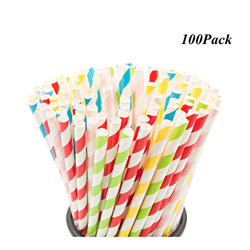 100 PCS Stripe Paper Straw Biodegradable Rainbow Drinking Straw for Celebration Parties and Arts Crafts Projects, Multicolor for $<!--$6.99-->