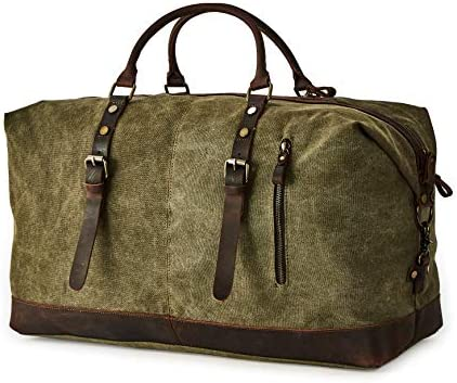 BRASS TACKS Leathercraft Men's Waxed Canvas Vintage Overnight Duffel Weekend Bag