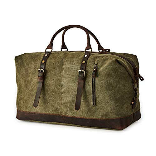 BRASS TACKS Leathercraft Men's Waxed Canvas Vintage Overnight Duffel Weekend Bag ()
