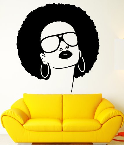 Sexy African Black Hippie Woman Sunglasses Earrings Beauty Salon Decor Wall Mural Vinyl Decal Sticker - Product Sunglasses Photography