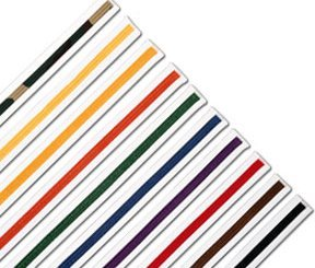 Striped Rank Belts (White Striped Rank Karate Martial Arts and TaeKwonDo Belts 0122 yellow size 3)