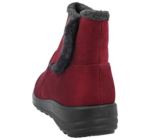 Boot Shoe Comfort Walk Warm Ankle Fur 3 8 Faux Suede Wine Cushion Size v Ladies Faux Casual Lined gP7fq4ww