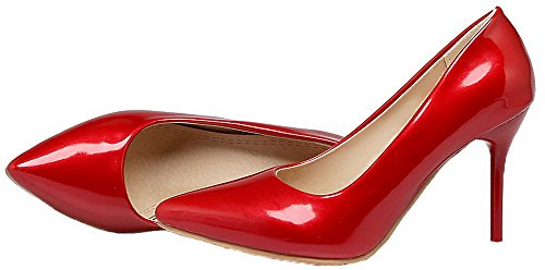 Stylet D'orteil Couleur Chaussures Fermeture Verni Femme Unie L Agoolar 5xf6Rgqg