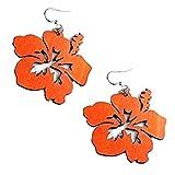 Green Tree Jewelry Tangerine Hibiscus Flower Wood Wooden Laser Cut Earrings #1085