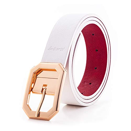 (Spring Leather Belt for Women Dress Reversible Fashion Jeans Shiny Gold Rotated Buckle Cowgirl Corset Belt Solid Band)