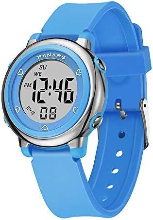 キッズデジタル腕時計 男の子 女の子 スポーツ アウトドア 50m 防水 電子腕時計 アラームストップウォッチリマインダー 4~16歳のお子様 若者向け (文字盤プレートに5つのハート)