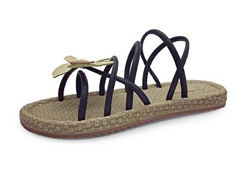 zapatos abiertos de las sandalias planas de los estudiantes sandalias flores Black