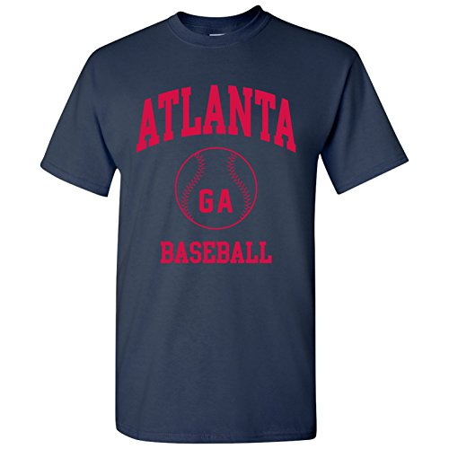 Atlanta Classic Baseball Arch Basic Cotton T-Shirt - X-Large - Navy (Braves Baseball T-shirt)