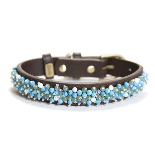 Dosha Dog Turquoise Beaded Small Brown Collar