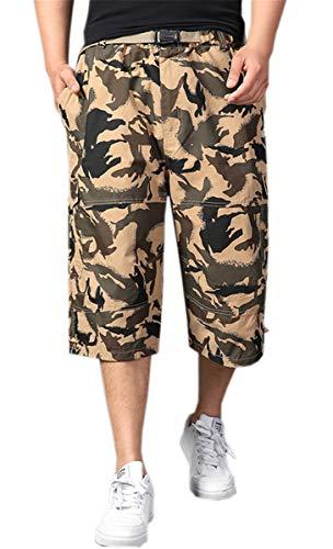 (Men's Camo Capri Cargo Long Short, Baggy Loose Fit Multi Pocket Shorts for Big & Tall, L01 Kakhi, US 42 = Tag 44)