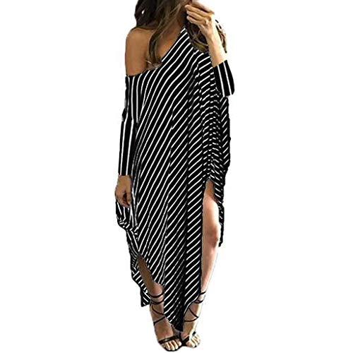 - Toponly Beach Cover Up Dress For Women Casual Loose Round Neck Bat-wing Sleeve Striped Irregular Dress