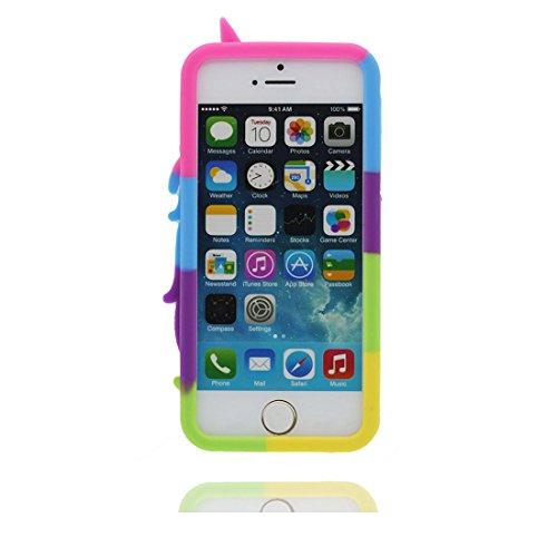 iPhone 5 Hülle, [ TPU materielles flexibles Einhorn stylish ] Handyhülle für iPhone 5G SE 5s 5C, Staub-Beleg-Kratzer beständig, haltbare weiche case und Touchstift