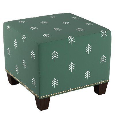 Sensational Amazon Com Square Nail Button Ottoman Line Tree Evergreen Beatyapartments Chair Design Images Beatyapartmentscom