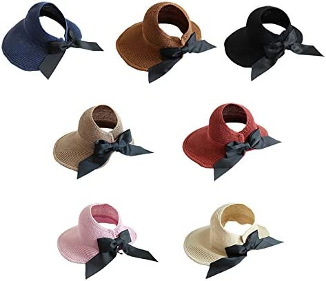 Hewantiey Womens Summer Knitted Wide Brim Big Straw Sun Hats Roll Up Beach Visor with Knotted Bow