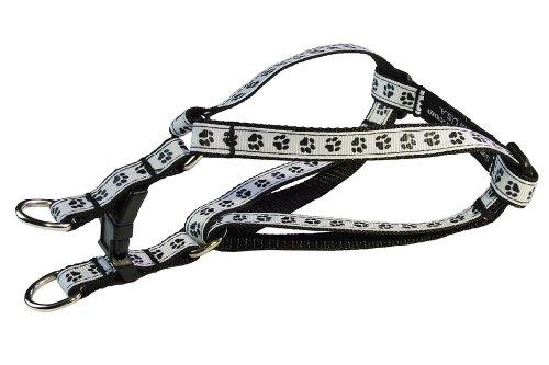 Sassy Dog Wear 8-16-Inch Black/White Puppy Paws Dog Harness, X-Small